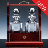 Inverness Crystal Flame Pair Panelled Decanters and Wood Tantalus