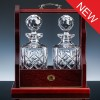Inverness Crystal Traditional Pair Fully Cut Decanters and Wood Tantalus