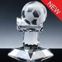 Optical Crystal Sports Trophies 8.5 inch Football Hand, Single, Velvet Casket