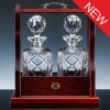 Inverness Crystal Traditional Pair Panelled Decanters and Wood Tantalus
