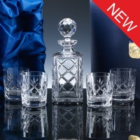 Inverness Crystal Traditional Whisky Set, Panelled Decanter and 4 Tumblers, Satin Boxed